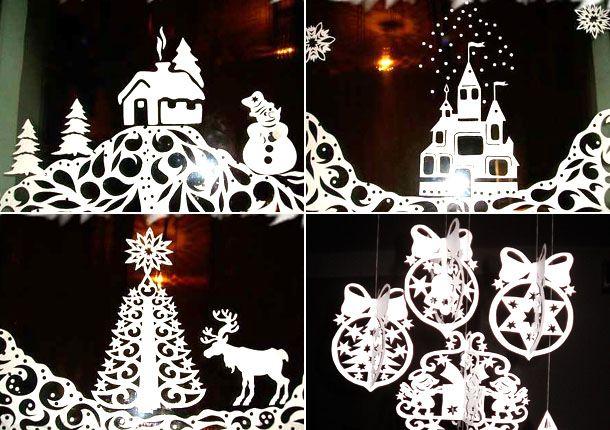 Примеры новогодних вытынанок