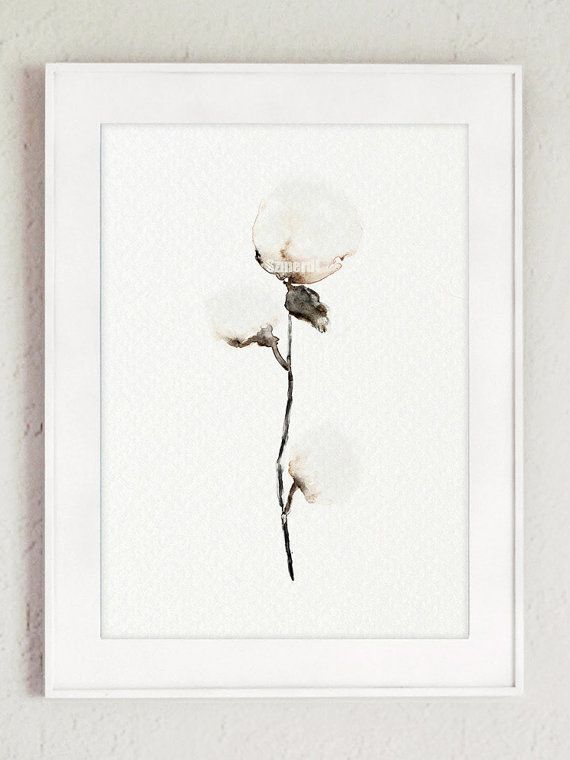 Cotton painting cotton bolls natural cotton art by ColorWatercolor #natural #cotton #minimalist #painting