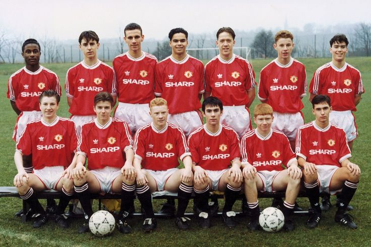 Manchester United's youth team in 1992. back row left to right: Raphael Burke, Gary Neville, Simon Davies, John O' Kane, Andy Noone, Nicky Butt and Ben Thornley. Front row: Robbie Savage, David Beckham, George Switzer, Keith Gillespie, Paul Scholes and Chris Casper.