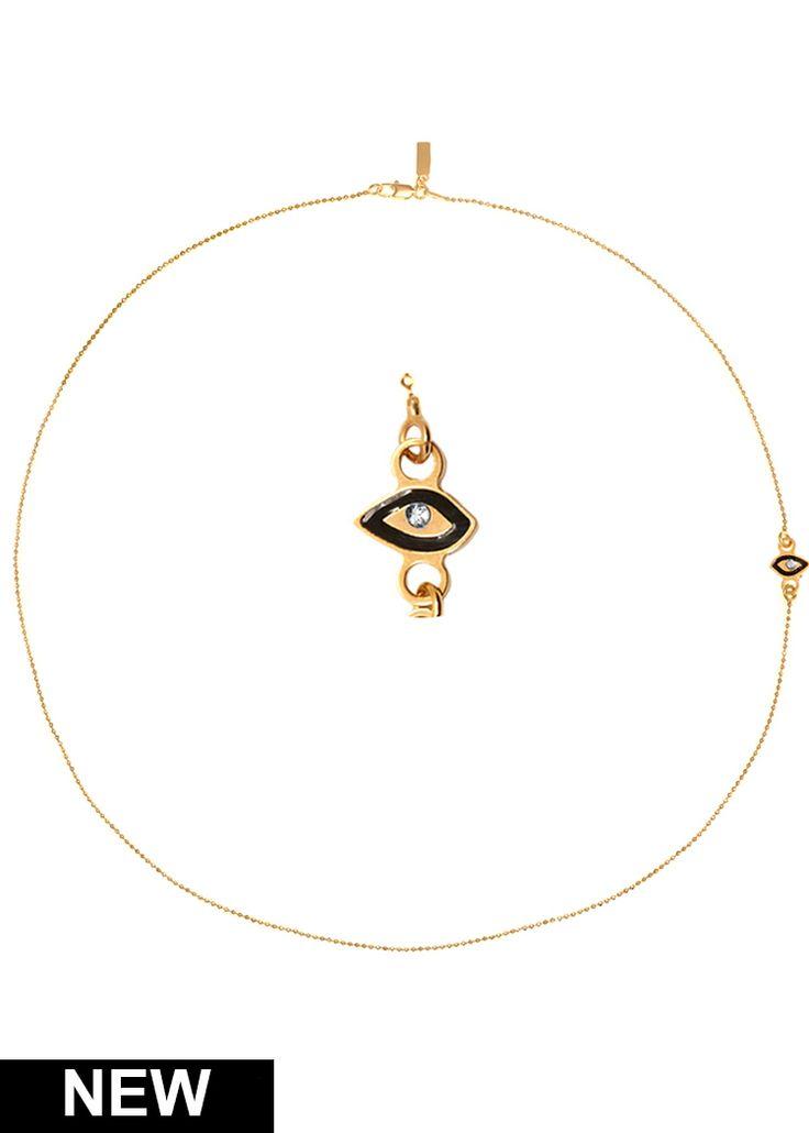 Maria Francesca Pepe Eye charm necklace with enamel and swarovski Shop now> https://www.mariafrancescapepe.com/showplarge.aspx?prodid=646&catid=47&utm_source=Social&utm_medium=Pinterest&utm_campaign=SS14_eyecharm_necklace