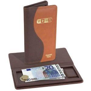 Porta Cuentas clásico en estilo piel marrón. Perfecto para un mesón, restaurante o negocio con estilo clásico y elegante.