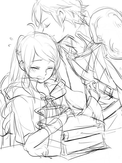 I really like these b&w sketches of chrom & FeMU, cause then it let's you picture you're own avatar to an extent. The girl in this one looks like my avatar, Aura <3