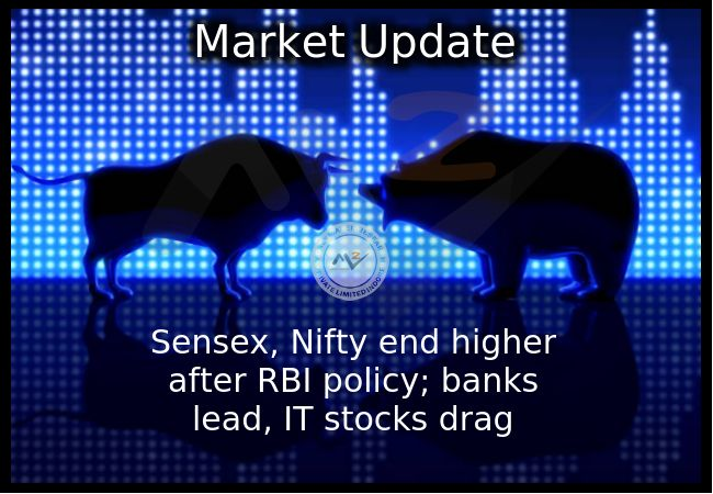 #Equity benchmarks closed higher and Nifty Bank ended at record closing high after #RBIPolicy announcement. The 30-share #BSE #Sensex was up 80.72 points at 31,271.28 and the 50-share #NSE #Nifty rose 26.75 points to 9,663.90. #MoneyMakerResearch #IndianStockMarket