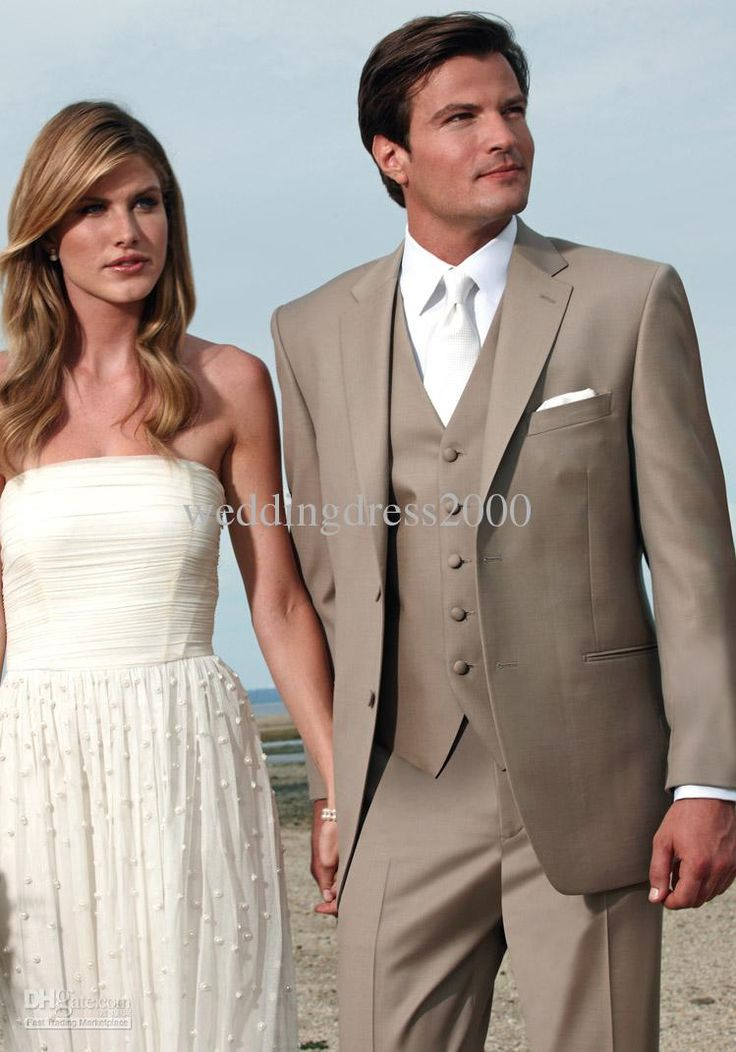Use This For Groom And Used Tan Suits And Plum Color Vest For Groomsmen