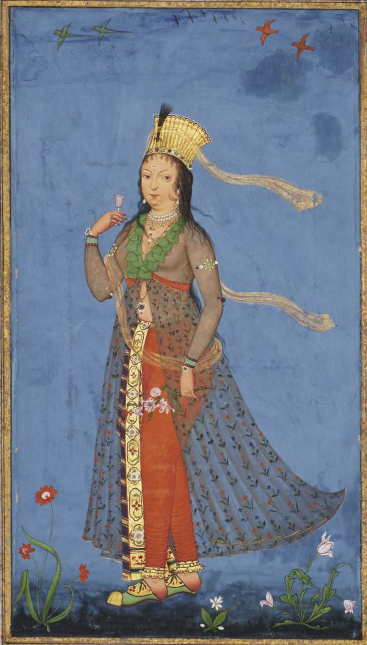 A European maiden in a flowery field, Deccan, probably Golconda, second half 17th century