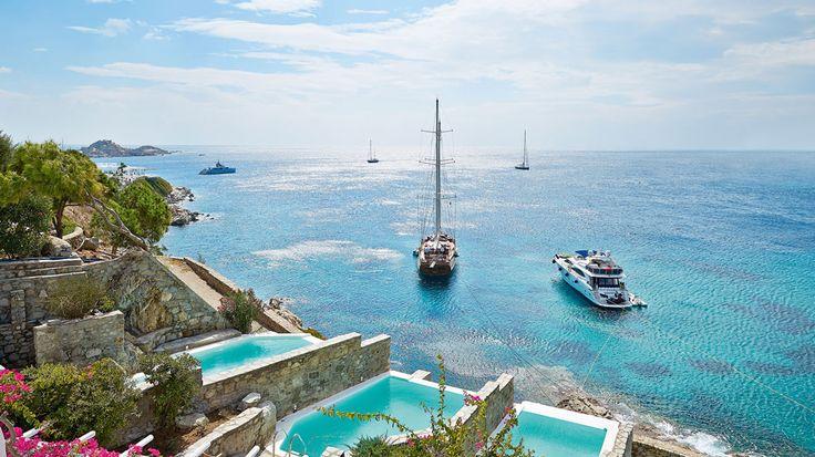 Mykonos Blu is a dreamy place with dramatic sea views