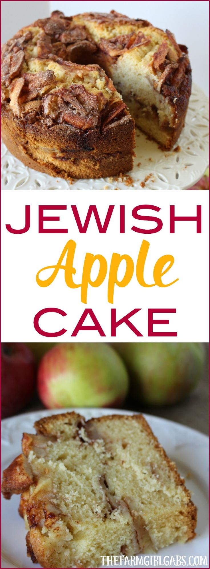 This Jewish Apple Cake recipe is moist and full of sweet apples and cinnamon. It goes perfect with a nice cup of coffee.