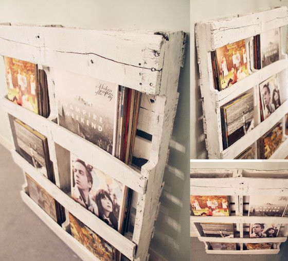 #diy #Pallet record storage and display shelf / BUT with stacks of photos you could flick through whenever and rearrange to display new ones every so often