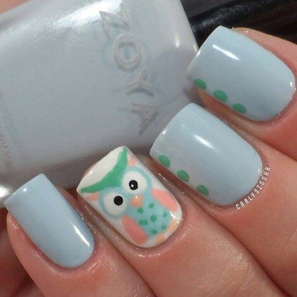 .@iinailsart | Cute owl.. crd; @Carly Sisoka يا حبي للمنكيرات اللي فيها بومة ♡.♡ | Webstagram - the best Instagram viewer