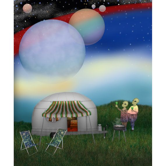Bob+and+Sue+Go+Camping by+FullFrogMoon: Bobandsuegocamp Byfullfrogmoon, Sweet, Bobs And Sue Go Camps, Moon Illustrations, Airstream Dreams