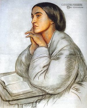 Christina Rossetti by Dante Gabriel Rossetti, 1866, coloured chalk on blue–gray paper