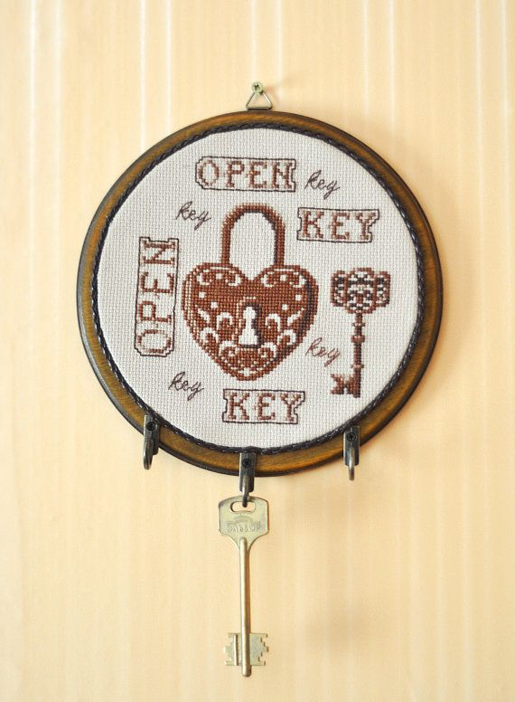 Key Holder Home Decor Wall Mount Lock Key Rack Embroidery