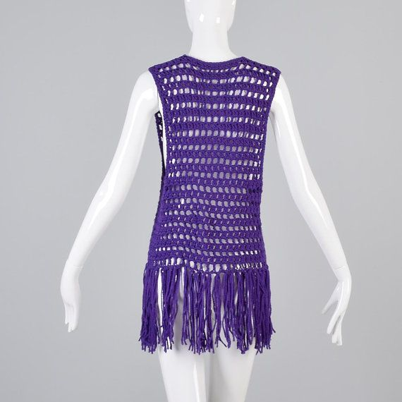 10% OFF Vintage 70s Purple Open Crochet Tunic by StyleandSalvage