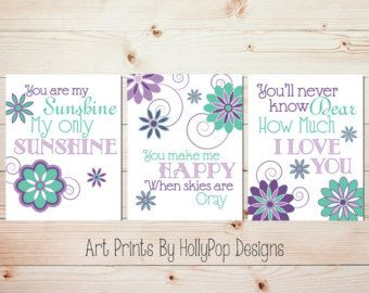 Nursery Wall Decor Girls Room Art Prints You by HollyPopDesigns