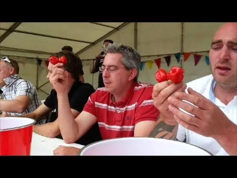Chili eating competition at the Great Dorset Chilli Festival Sunday 4th August 2013. Compere by Darth Naga in association with the Clifton Chilli Club this y...