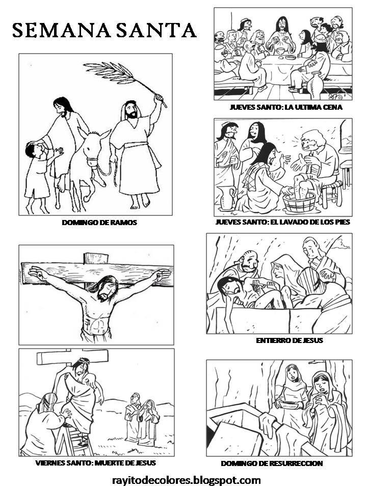 colorea la semana santa | Historia de la semana santa para colorear
