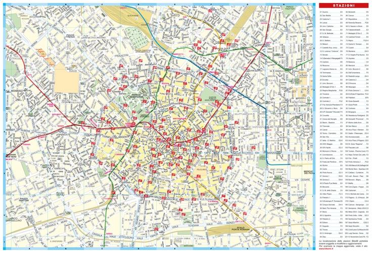 A Milano ci sono 201 stazioni di BikeMi, il servizio di trasporto pubblico su bicicletta. Facilissimo da usare: basta fare l'abbonamento, prendere una bici, arrivare a destinazione e portarla alla stazione più vicina entro due ore. Niente traffico, niente inquinamento, e niente rischio di non ritrovare la bici all'uscita dall'ufficio.