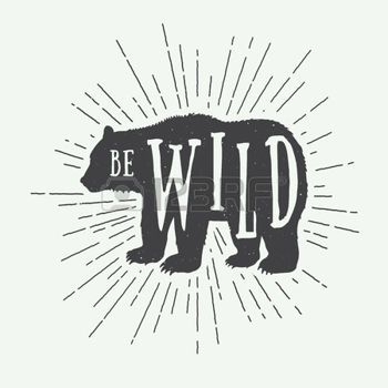 grizzly bear: Vintage bear with slogan. Vector illustration Illustration                                                                                                                                                                                 More