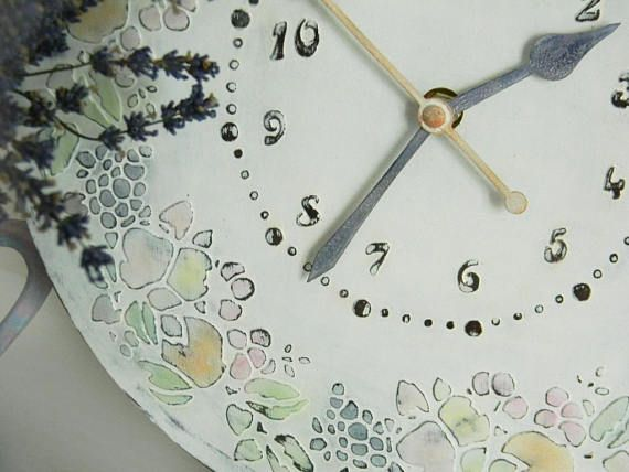 Wall Clock Vintage LARGE WALL CLOCK sweet home Unique Wall Clock Modern Wall Clock  Housewarming Gift Kitchen Clock  wall decor Provence