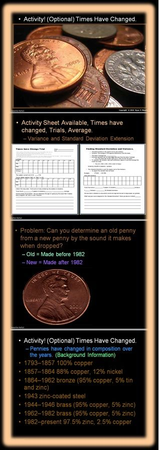 Times have Changed.  Students try to determine if a penny is old or new by the sound it makes when dropped.  Pennies made before 1982 used copper as their primary metal.  Pennies after 1982 use mostly Zinc.  I like this lab because it uses sound as the primary sense.  Standard deviation, variance, and sampling techniques can all be learned.