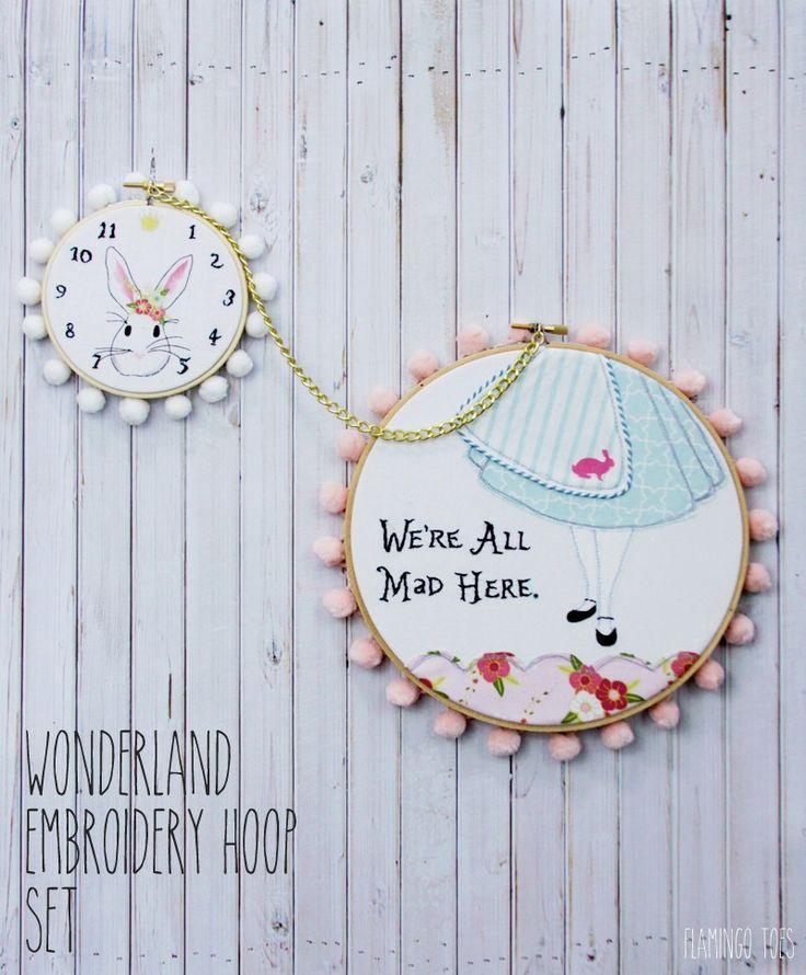 Alice in Wonderland Embroidery Hoop art; Flamingo Toes
