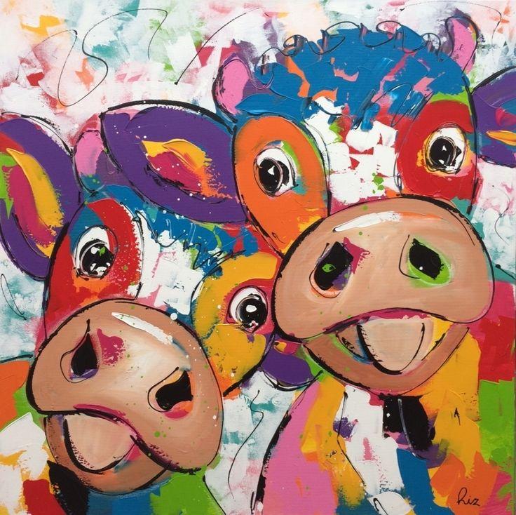 """Liz schilderij """" Happy Cows II """""""
