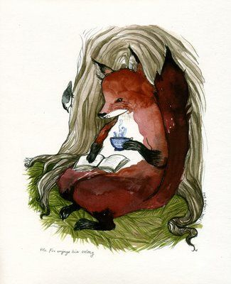 Illustration by Diana Sudyka cute fox sitting with a good book and tea or coffee