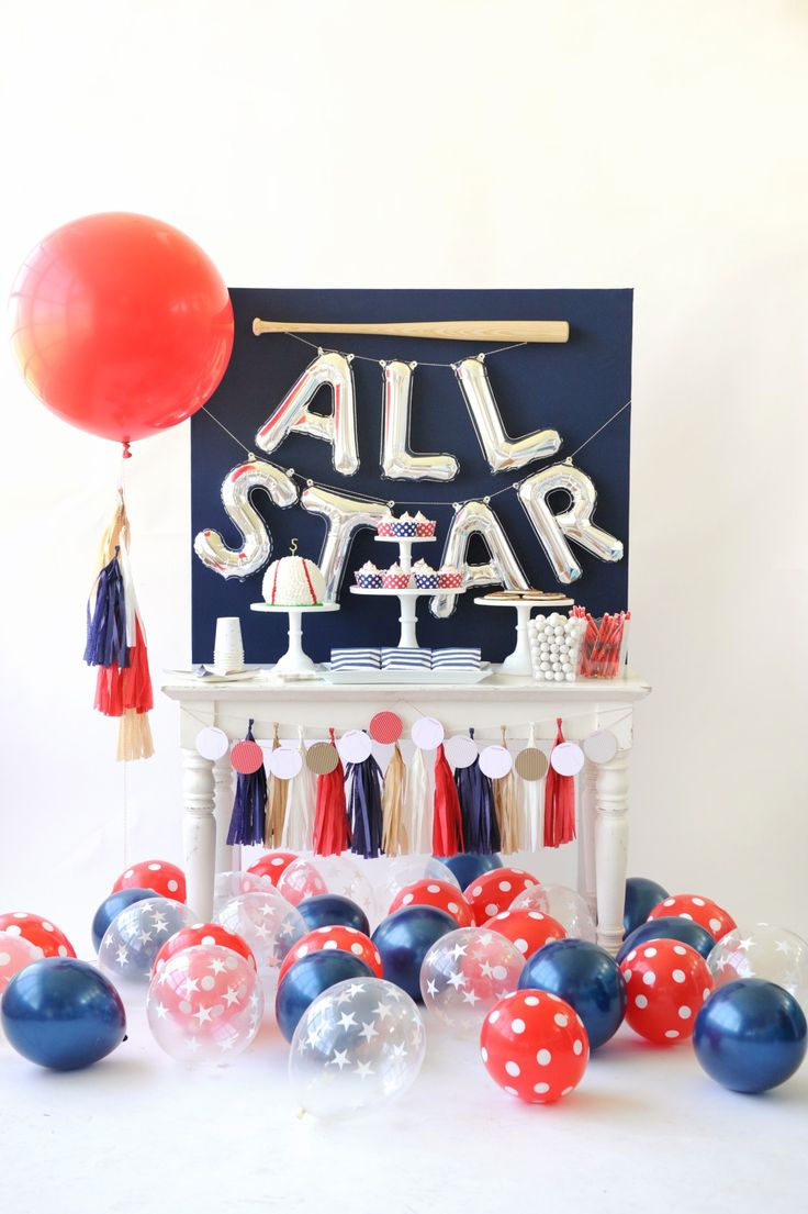 All Star children's baseball themed birthday party. Dessert table decor inspiration. Red, white, and blue. Baseball Party styling by Happy Wish Company. Photography by Tammy Hughes Photography. Stationery by Minted artist, 24th and Dune.