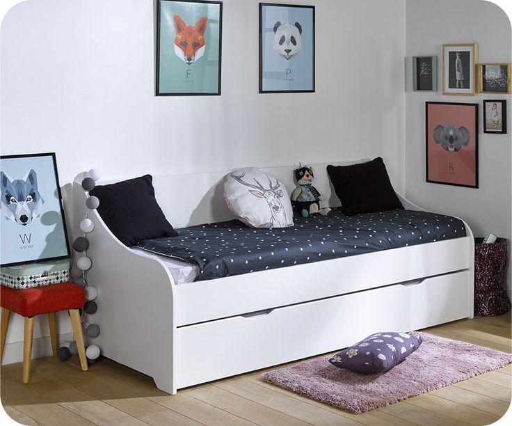 Lit Gigogne Lylo Blanc 80x200 cm