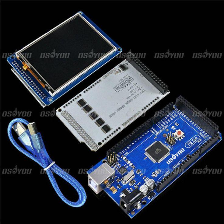"3.2 ""tft lcd touch + tft 3.2 بوصة درع ميجا درع + mega2560 r3 مع كابل usb لاردوينو عدة"