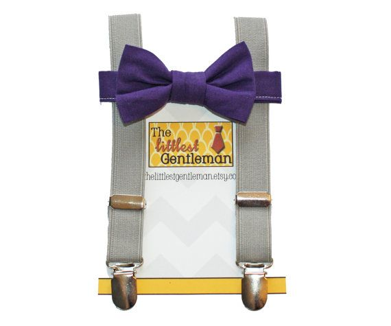 boy bow tie suspenders set grey PURPLE bow by TheLittlestGentleman
