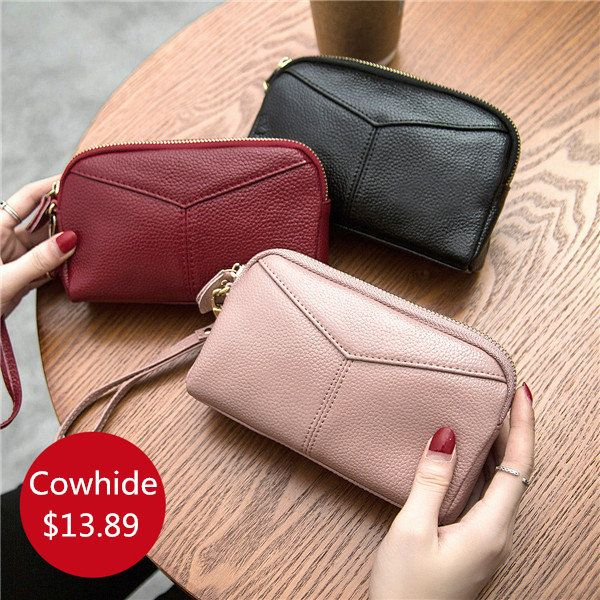 Women Genuine Cowhide 6.3 Inches Phone Clutch Wallet Keys Card Coin Holder 5 Col - US$13.89