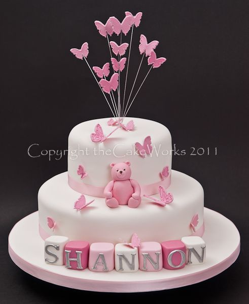 Pink Christening with bear, Baptism, Baptism cake, Cake Works, CakeWorks, Christening, Christening cake, Co. Durham, Darlington, Darlington Cakes, Naming Day, theCakeWorks