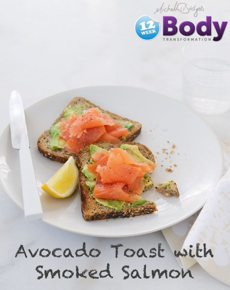 Avocado and Smoked Salmon on Toast. Low cal and high protein breakfast!
