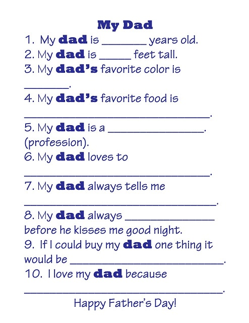 Father's Day Free Printable:  Kid questionnaire about Dad