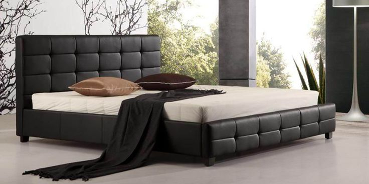 White Leather Bed Frame with wood slats No need box spring  #bed #bedframe #beds #bedframes