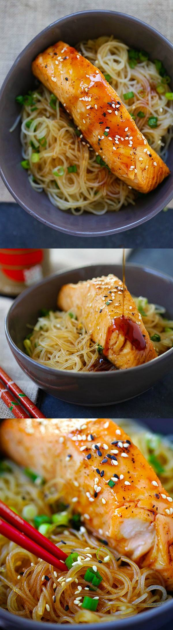 Moist and juicy salmon and rice noodles made with San-J Tamari. Gluten-free, healthy family weeknight dinner.
