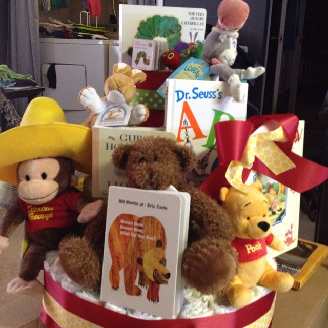 not diaper cake, but use stuffed animal/book decorations for mantle, end tables, etc.