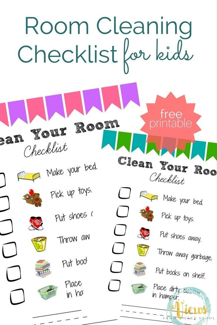 room cleaning checklist for kids