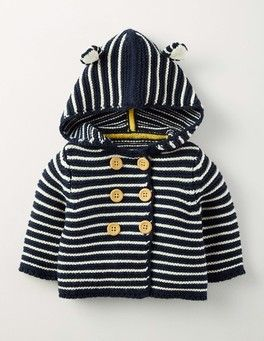 Ecru Marl/Navy Stripe Boys Knitted Jacket Boden