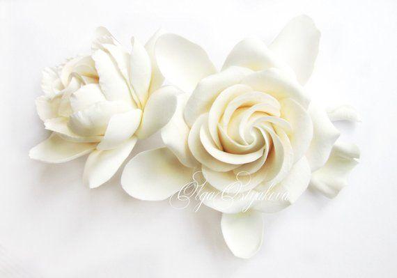 Double Gardenia Hair Clips White Ivory Gardenia Two Etsy Hair Clips Gardenia Flower Making