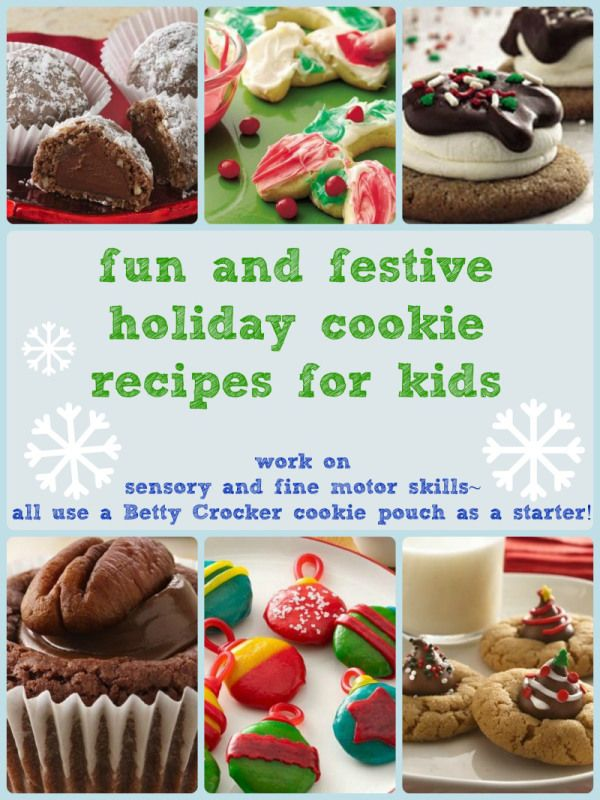 Finger painting and sensory during holiday baking? Why not? Here are some fun and festive recipes with a bit of extra emphasis on sensory, plus they are easy for Moms because they use Betty Crocker cookie pouches.