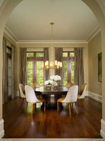neutral dining room from Harrison Design Associates: Big Round, Harrison Design, Kitchens Ideas, Ideeën Hui, Design Association, Association Projects, Neutral Dining Rooms, Round Tables, Fiona Boards
