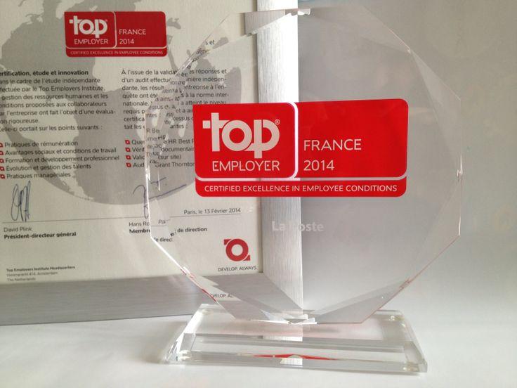 """[Actualité] """"Une nouvelle récompense pour Le Groupe La Poste recrute qui a reçu le 13 février 2014 - et ce pour la sixième année consécutive - le prix Top Employer France 2014. MERCI !""""  #RH #marqueemployeur #laposte"""