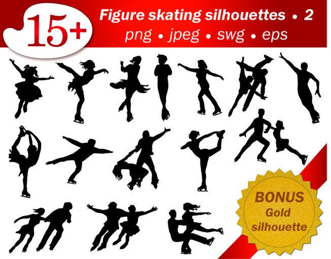Figure skating people silhouette. Part 2. Bonus gold silhouette. Eps, png, jpeg, svg. Editable, scrapbooking, clip art, sport, cutting by GecleeArtStudio on Etsy