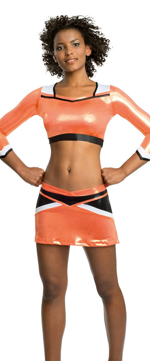 Ervy Uniform Atlanta #Cheerleader #Uniform #Ervy #orange #white #black