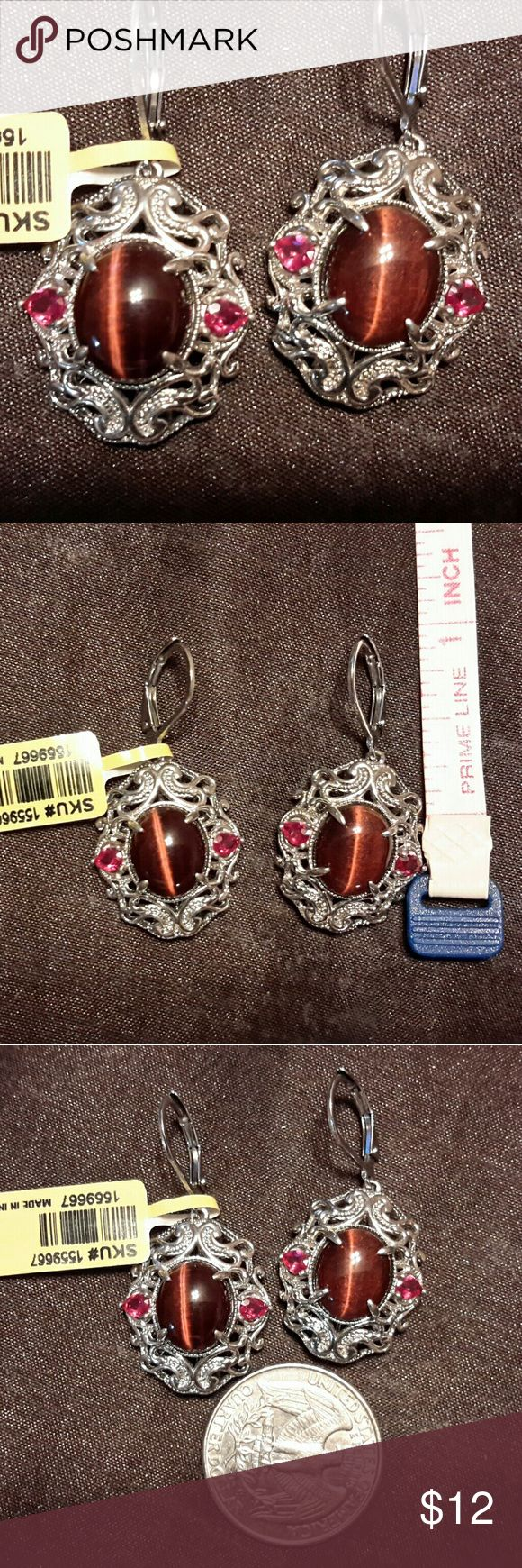 Ladies Pierced Earrings NEW South African Red Tiger Eye w/Red simulated diamond accents.  Lever backs in platinum bond brass.  LENGTH :  1.5  Comes from a smoke and pet free home. Karis Collection Jewelry Earrings