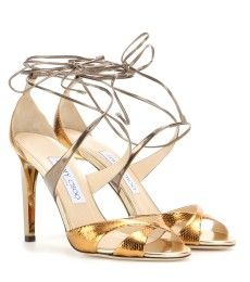 Jimmy Choo - Teira metallic snakeskin and leather sandals - mytheresa.com