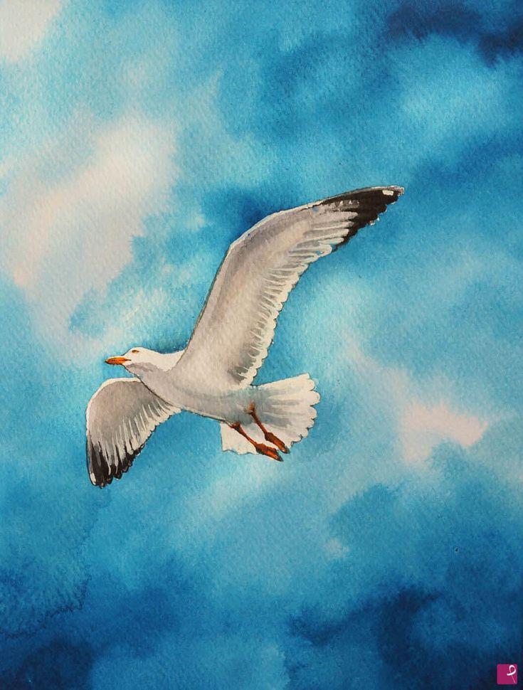 Gabbiano in volo ad acquarello di Natalia Khromykh