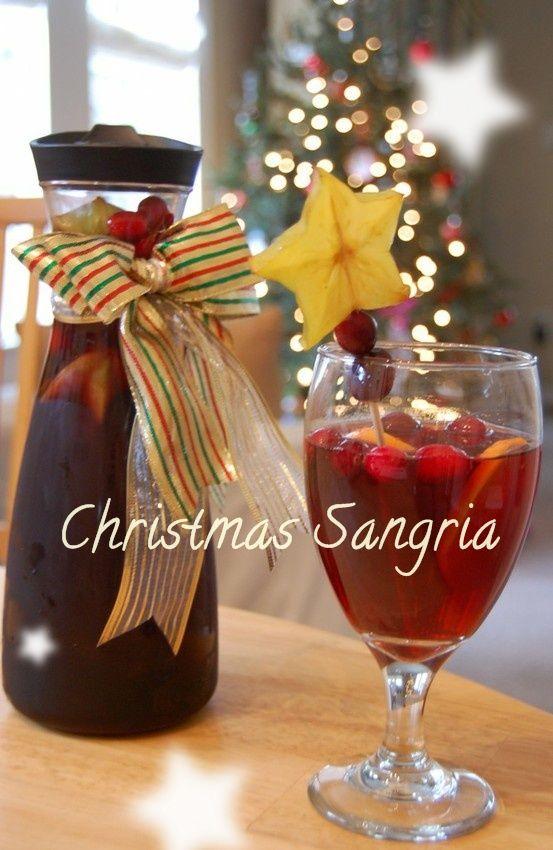 Christmas Sangria 2 bottles Merlot 1 bottle ginger ale 1 cup sugar 1 tsp ground cinnamon tsp ground nutmeg tsp ground clove 4 to 6 oranges or tangelos 6 to 10 cinnamon sticks 1/2 bag of cranberries.